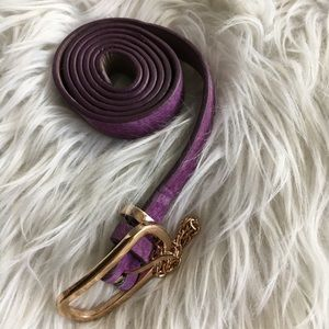 Purple Pleather Belt with Chain